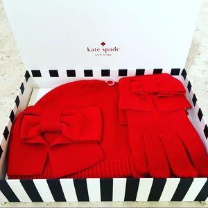 Kate Spade ♠️ Dorothy Bow Beanie & Glove Set Red
